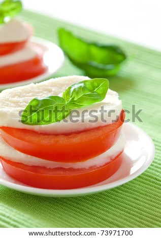 antipasti tomato mozzarella with basil