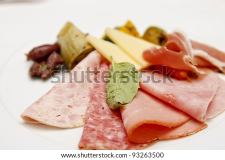 Antipasto of meats, cheeses, and olives