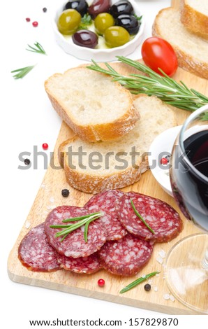 antipasto - salami, bread, olives and glass of wine isolated on white background