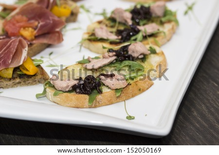 Antipasto, tapas, various appetizer food traditional in mediterranean countries