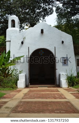 ANTIPOLO, PH - FEB. 20: Chapel facade at Pinto Art Museum on February 20, 2019 in Antipolo, Philippines. Pinto Art galleries in mission-style buildings, gardens, and arts in Philippines. #1317937250