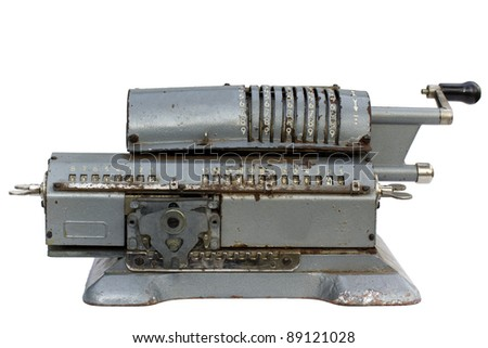 Antique adding machine on white background