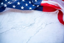 Antique America flag waving pattern background in red blue color concept for USA 4th july independence day, symbol of patriot freedom on white marble. Glory pride in memorial day of liberty