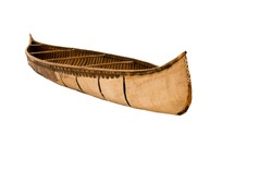 Antique American Thin Wood Canoe Isolated Against White Background