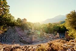 Antique amphitheatre in ancient town Phaselis in Antalya region, Turkey.