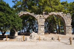 Antique aqueduct in Faselis in the south of Turkey