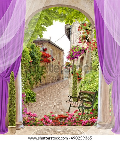stock photo antique arch with columns and flowers old sity view with blinds and trees 490259365 - Каталог — Фотообои «Балконы, арки»
