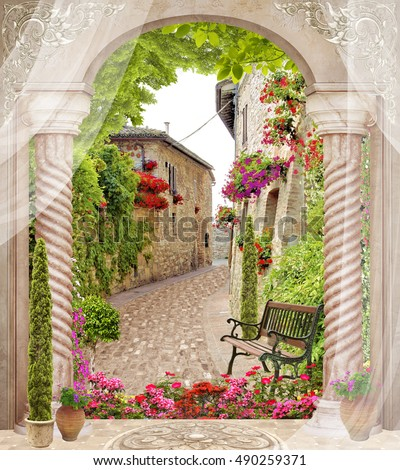 Antique arch with columns and flowers. Old sity view with blinds and trees