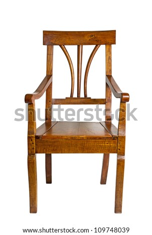 antique armchair made of cherry wood from the biedermeier time - stock photo