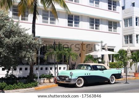 Antique automobile on ocean drive, Art Deco area of South Beach Florida