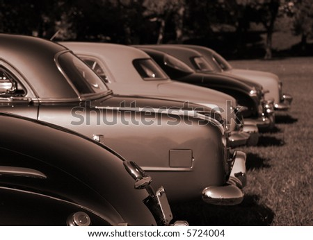 Antique Automobiles in Monochrome Colors