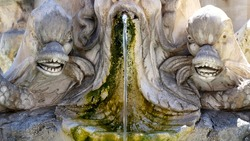 Antique baroque marble fountain with monster heads in Rome near Pantheon front view