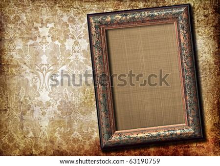 antique blank frame over vintage background