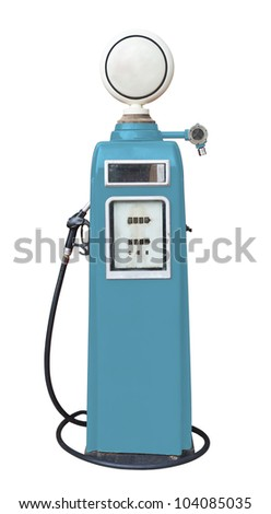 Antique blue gas pump on white with clipping path