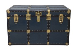 Antique Blue Tin Travel Trunk Steamer Chest Tin Chest Trunk closed isolated on white background