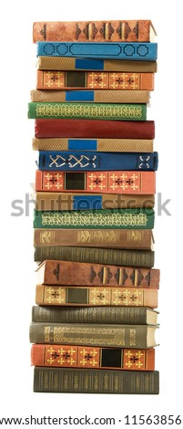 Antique book pile isolated o white background