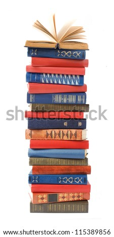 Antique book pile isolated on white background