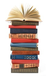Antique book stack isolated on white background