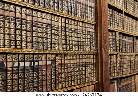 Antique books in the Library of Stift Melk, Austria.