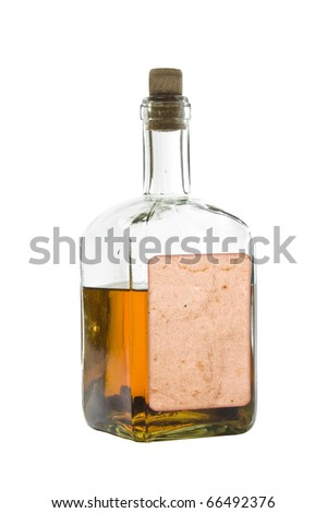 Antique bottle of spirits, isolated over a white background
