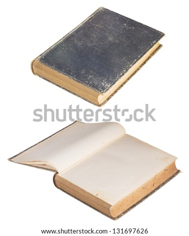 Antique bound book, closed and open, isolated on white background