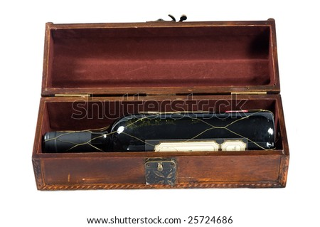Antique box for wine isolated on a white