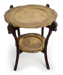 Antique brass and dark wood oriental side table.