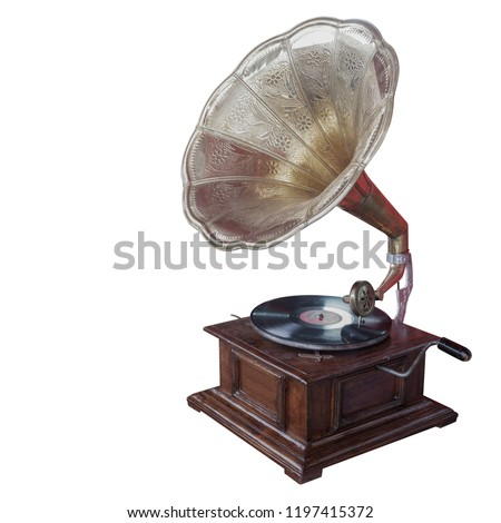 antique brass and wooden gramaphone on white background,copy space  #1197415372