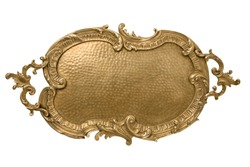Antique brass, bronze tray in the Rococo style, isolated on white background