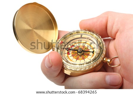 antique brass compass isolated on white background