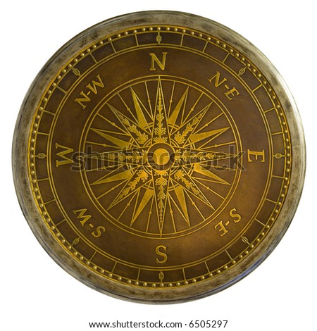 Antique Brass Compass Table Top