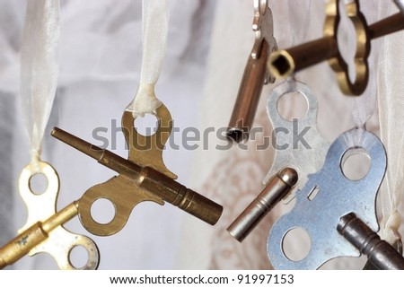 Antique Brass Double Ended Clock Key - stock photo