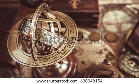 Antique Brass Globe Sphere Zodiac Signs #690048154