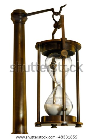 Antique brass hour-glass isolated with clipping path on white background