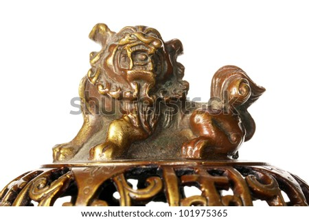 Antique brass incense burner front view - stock photo