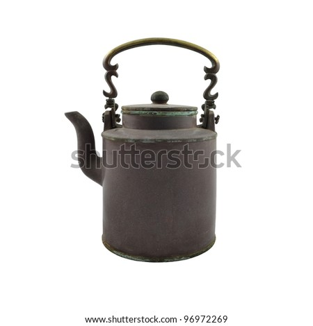 antique brass kettle on a white background