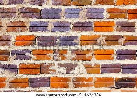 Antique Brick Wall. Hi res. Rustic and weathered brick on external wall, southern Brazil.