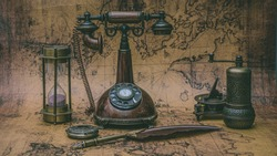 Antique Bronze Telephone And Old Collection On Old World Map