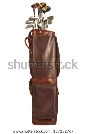 antique brown leather bag with...