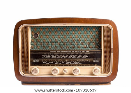 Antique brown radio on a white background