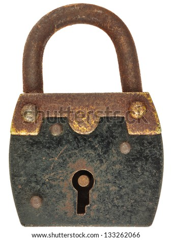 Antique brown with black metal padlock isolated on a white background
