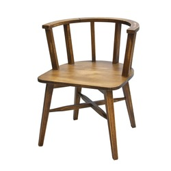 Antique Brown Wood Armchair With Wood Legs on White Background