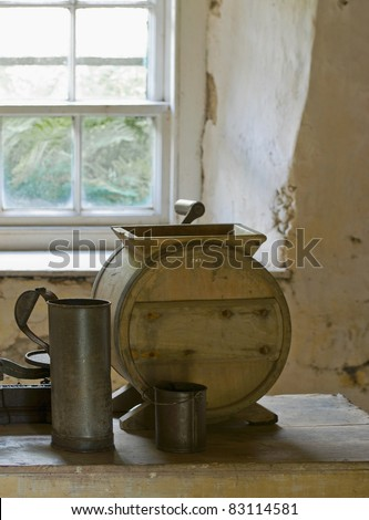Antique butter churn in an old cottage