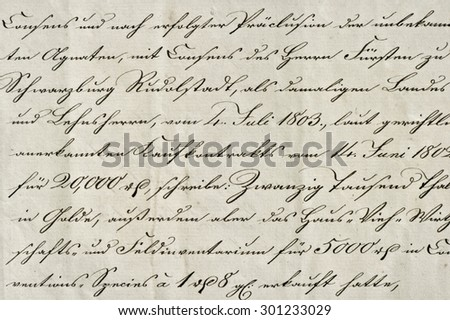 Antique calligraphic handwriting. Old ink manuscript. Grunge vintage paper background. Old handwriting