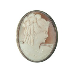 antique cameo brooch with a woman's portrait