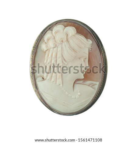 antique cameo brooch with a woman's portrait #1561471108