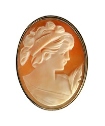 Antique Cameo Pin isolated on a white background