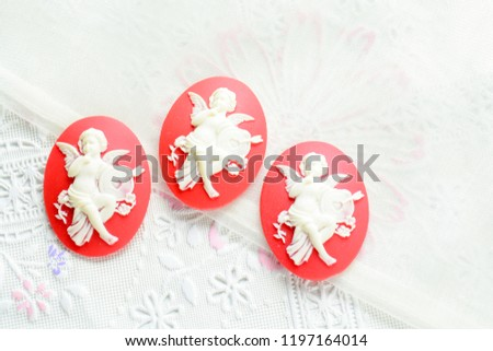 Antique cameo with ladies face, cameo brooch representing the side portrait of a woman #1197164014
