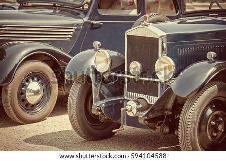 Antique cars, sepia vintage process