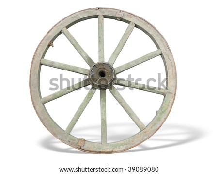 Antique Cart Wheel made of wood and iron-lined, isolated over white background